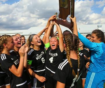 10-6-18 Western vs Marion girls soccer sectional championship Western celebrates after their sectional championship win. Kelly Lafferty Gerber | Kokomo Tribune