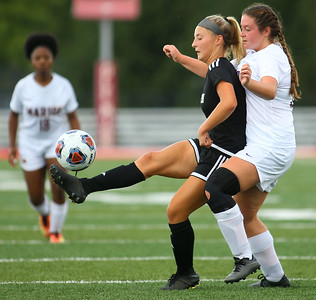 10-6-18 Western vs Marion girls soccer sectional championship Western's Sophia Weigt kicks the ball and prevents Marion's Katelyn Wright from getting to it. Kelly Lafferty Gerber | Kokomo Tribune