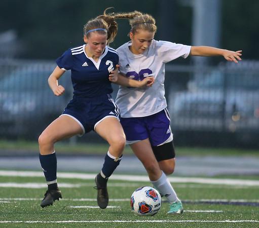10-2-18<br /> Northwestern vs Lafayette Central Catholic girls soccer sectional<br /> LCC's Aubrey Weeks, left, and NW's Ashlyn Markley.<br /> Kelly Lafferty Gerber | Kokomo Tribune