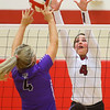 10-30-18<br /> IUK volleyball<br /> Mallorie Havens puts up a block.<br /> Kelly Lafferty Gerber | Kokomo Tribune