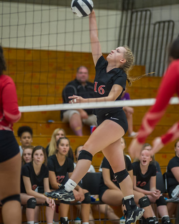 Logansport senior Brayden Berkshire (16) knocks the ball over the net as the Lady Berries defeated the Lady Redskins of Knox in four sets on Wednesday night. Fran Ruchalski   Pharos-Tribune