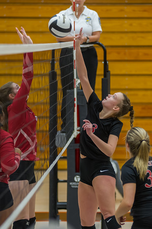 Logansport sophomore Mayce McClure (3) tucks the ball over the net as the Lady Berries defeated the Lady Redskins of Knox in four sets on Wednesday night. Fran Ruchalski   Pharos-Tribune
