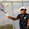 9-4-18<br /> Western vs Northwestern boys tennis<br /> Western 1 doubles Palmer Harrell.<br /> Kelly Lafferty Gerber | Kokomo Tribune