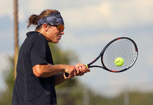 9-4-18<br /> Western vs Northwestern boys tennis<br /> Western 2 singles Jacob Jansen.<br /> Kelly Lafferty Gerber | Kokomo Tribune