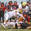 9-7-18<br /> Eastern vs Taylor football<br /> Eastern defense takes down Taylor's Alex Kropczynski.<br /> Kelly Lafferty Gerber | Kokomo Tribune