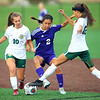 Soccer action between Northwestern HS and Eastern HS girls on Sept. 27, 2018. Eastern's Kaiya Allen and Heidi Williams double up on Northwestern's Sasha Jocius early in the game.<br /> Tim Bath | Kokomo Tribune