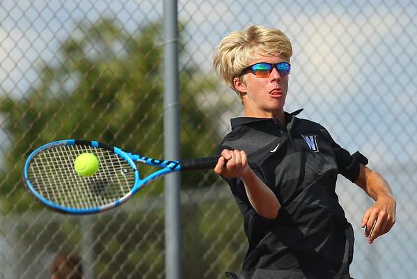 9-4-18<br /> Western vs Northwestern boys tennis<br /> Western 1 singles Braden Freeman.<br /> Kelly Lafferty Gerber | Kokomo Tribune