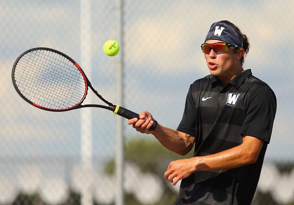 9-4-18<br /> Western vs Northwestern boys tennis<br /> Western 2 singles Jacob Jansen.<br /> Kelly Lafferty Gerber   Kokomo Tribune