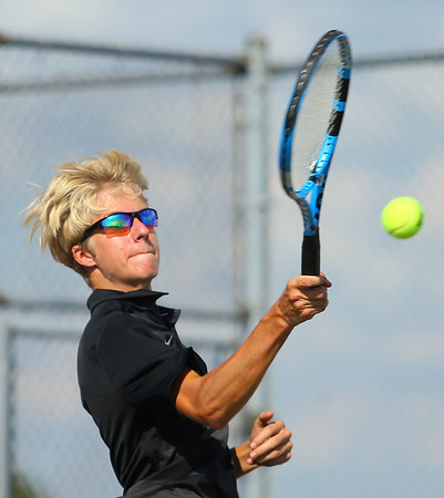 9-4-18<br /> Western vs Northwestern boys tennis<br /> Western 1 singles Braden Freeman.<br /> Kelly Lafferty Gerber | Kokomo Tribune