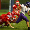 9-14-18<br /> Lewis Cass vs Northwestern football<br /> LC's Joey Humphrey and Sam McCoy try to take down NW's Jaelen Fowler.<br /> Kelly Lafferty Gerber | Kokomo Tribune