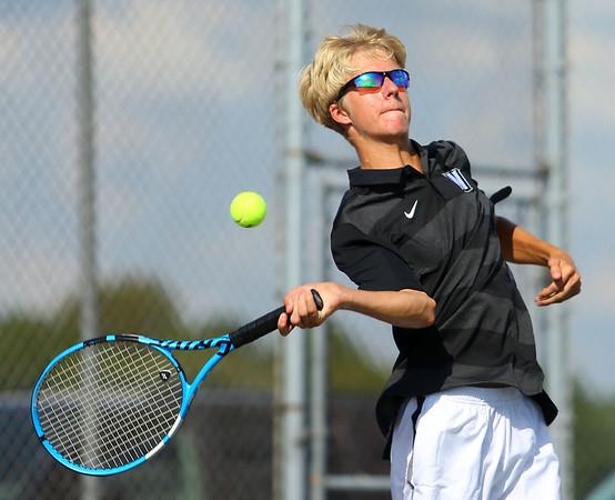 9-4-18<br /> Western vs Northwestern boys tennis<br /> Western 1 singles Braden Freeman.<br /> Kelly Lafferty Gerber   Kokomo Tribune