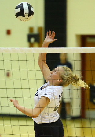 9-5-18<br /> Western vs Tipton volleyball<br /> Hilary Merica sends the ball over the net.<br /> Kelly Lafferty Gerber | Kokomo Tribune