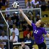 Western HS hosting Northwestern HS Volleyball on Sept. 25, 2018. Northwestern's Klair Merrell tips the ball over.<br /> Tim Bath | Kokomo Tribune