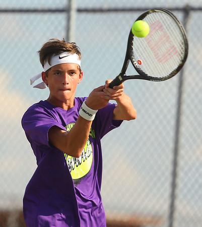 9-4-18<br /> Western vs Northwestern boys tennis<br /> NW 2 singles Adam Morrow.<br /> Kelly Lafferty Gerber   Kokomo Tribune