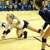 9-5-18<br /> Western vs Tipton volleyball<br /> Karlyne Shepherd digs the ball.<br /> Kelly Lafferty Gerber | Kokomo Tribune