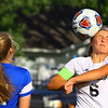 Soccer action between KHS and WHS on Sept. 25, 2018. Western's Sophia Weigt heads the ball toward the goal.<br /> Tim Bath | Kokomo Tribune