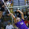 Western HS hosting Northwestern HS Volleyball on Sept. 25, 2018. Northwestern's Kendal Rooze sending the ball over on the second hit.<br /> Tim Bath | Kokomo Tribune