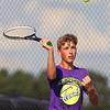 9-4-18<br /> Western vs Northwestern boys tennis<br /> NW 1 doubles Will Lovelace.<br /> Kelly Lafferty Gerber | Kokomo Tribune