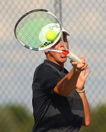 9-4-18<br /> Western vs Northwestern boys tennis<br /> Western 1 doubles Clayton Shanks.<br /> Kelly Lafferty Gerber | Kokomo Tribune