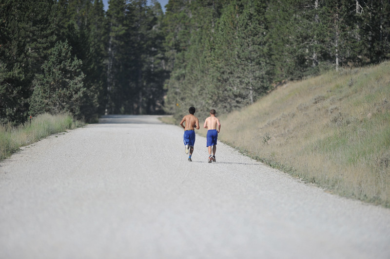 Bud Denega | The Sheridan Press<br /> Red Grade Road serves as the closing stretch to the Sheridan High School cross-country team's mountain camp's longest run.
