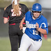 Sydney Davis rounds second base on a double from Brea Custer