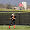 Meredith Dean waits for the hit out in center field.