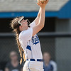 Kirsten Fletcher makes a catch on a short fly ball from Haley Carpenter for an out
