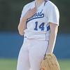 Kirsten Fletcher signals to Haileigh Lutz after a wild pitch