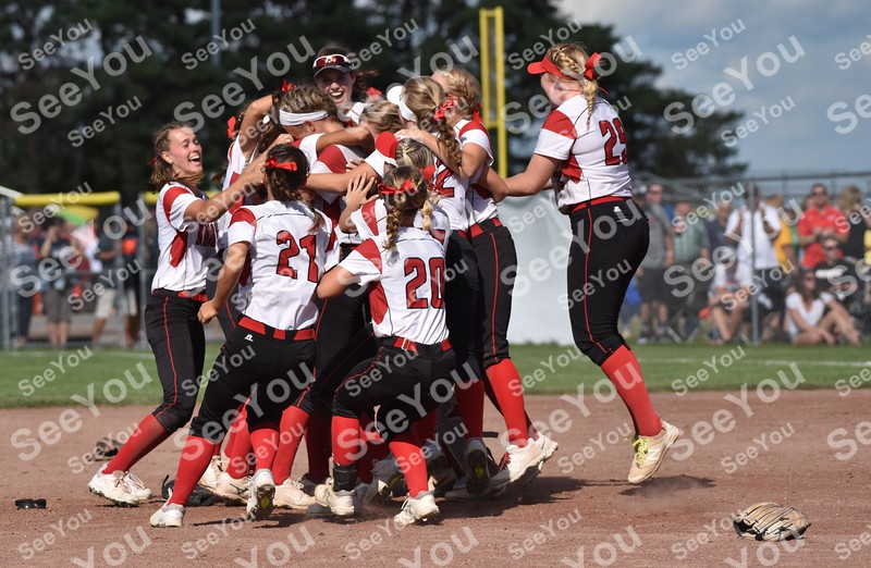 -Messenger photo by Britt Kudla<br /> Davenport Assumpion celebrates after beating Roland-Story during class 3A championship on Friday