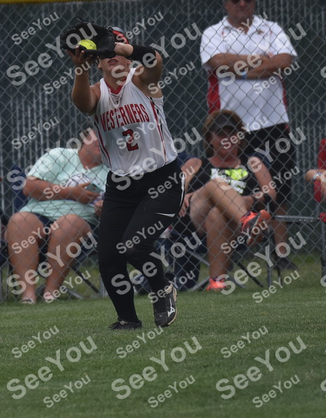-Messenger photo by Britt Kudla<br /> Danika Smith of Akron-Westfield catches a fly ball against AGWSR during class 1A semi finals on Wednesday