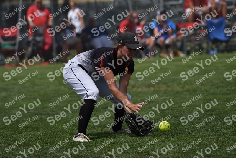 -Messenger photo by Britt Kudla<br /> Talyn Phillips of Roland-Story picks up a grounder against Albia during class 3A semi-finals on Wednesday