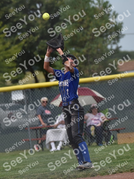 -Messenger photo by Britt Kudla<br />  Alexis Houge of Collins-Maxwell catches a fly ball against Lisbon during class 1A semi-finals on Wednesday at rogers park