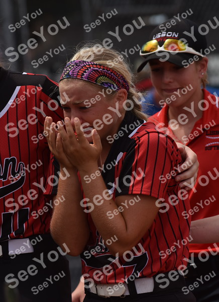 -Messenger photo by Britt Kudla<br /> Madelyn Morningstar of Lisbon react after losing to Collins-Maxwell during class 1A semi-finals on Wednesday at Rogers Park