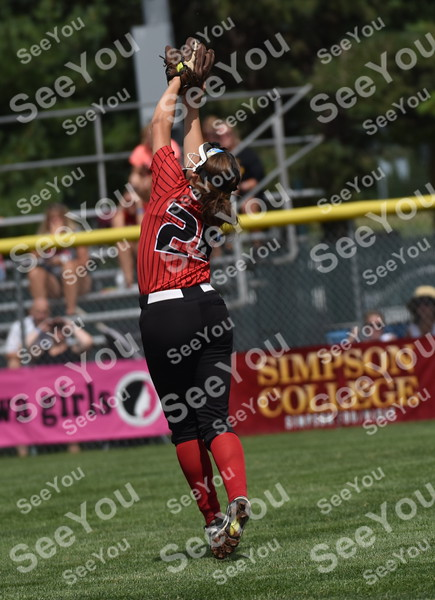 -Messenger photo by Britt Kudla<br /> Rachel Ross of Lisbon catches a fly ball against Collins-Maxwell during class 1A semi-finals on Wednesday