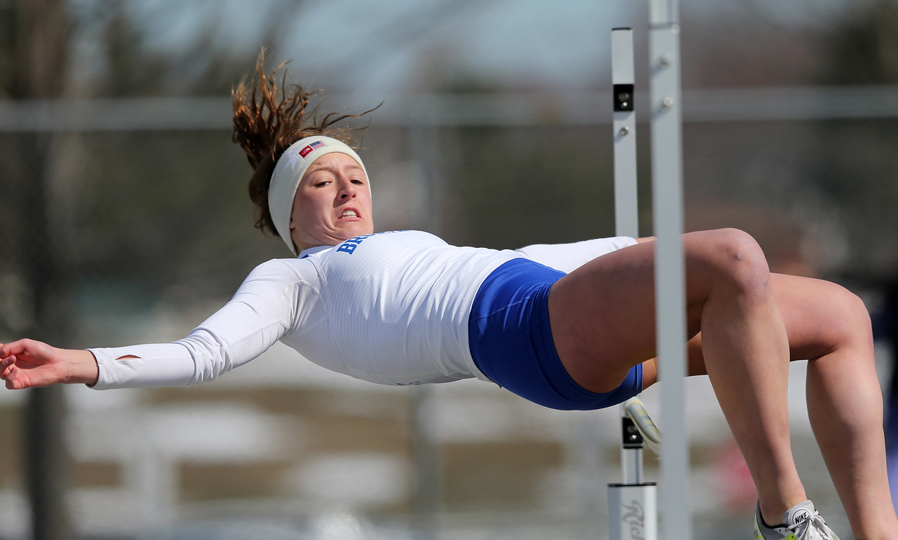"""Brunswick's Caylee Jozefov clears 4'6"""" in the high jump at the Strongsville Elite meet.  AARON JOSEFCZYK / GAZETTE"""