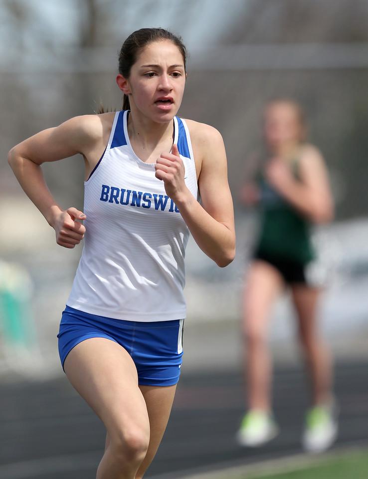 Brunswick's Emily Bardwell runs her way to a win in the 1600 meter run at the Strongsville Elite meet. AARON JOSEFCZYK / GAZETTE