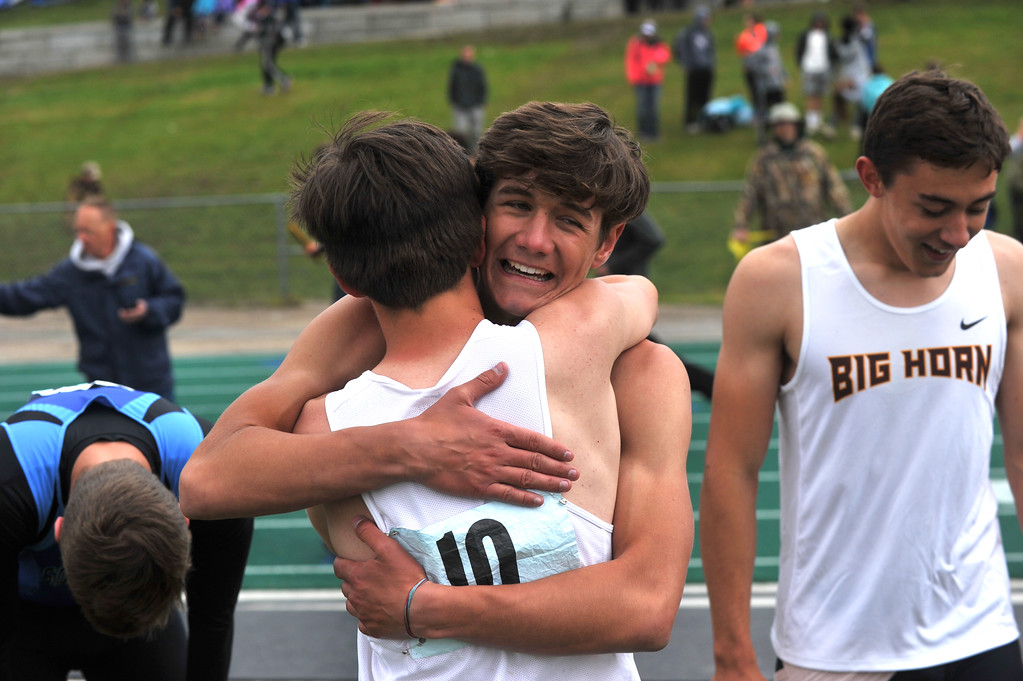 Bud Denega | The Sheridan Press<br /> Big Horn's Liam Greenelsh is overjoyed after the 1,600-meter relay at the state track and field meet at Kelly Walsh High School Saturday, May, 19, 2018.