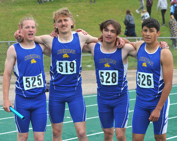 Bud Denega | The Sheridan Press<br /> Sheridan's 1,600-meter relay team — Alec Riegert, Tymer Goss, Cody Stults and Matt Roma — won the race at the state track and field meet at Kelly Walsh High School Saturday, May, 19, 2018.