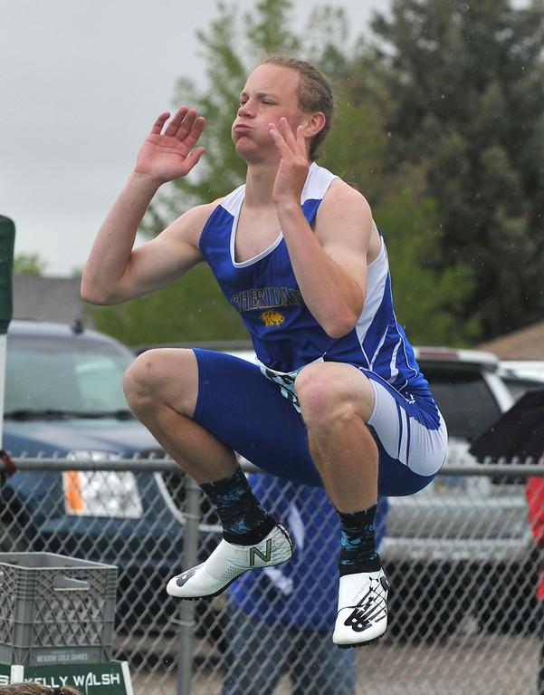 Bud Denega | The Sheridan Press<br /> Sheridan's Alec Riegert warms up prior to the 300-meter hurdles during the state track and field meet at Kelly Walsh High School Saturday, May, 19, 2018.