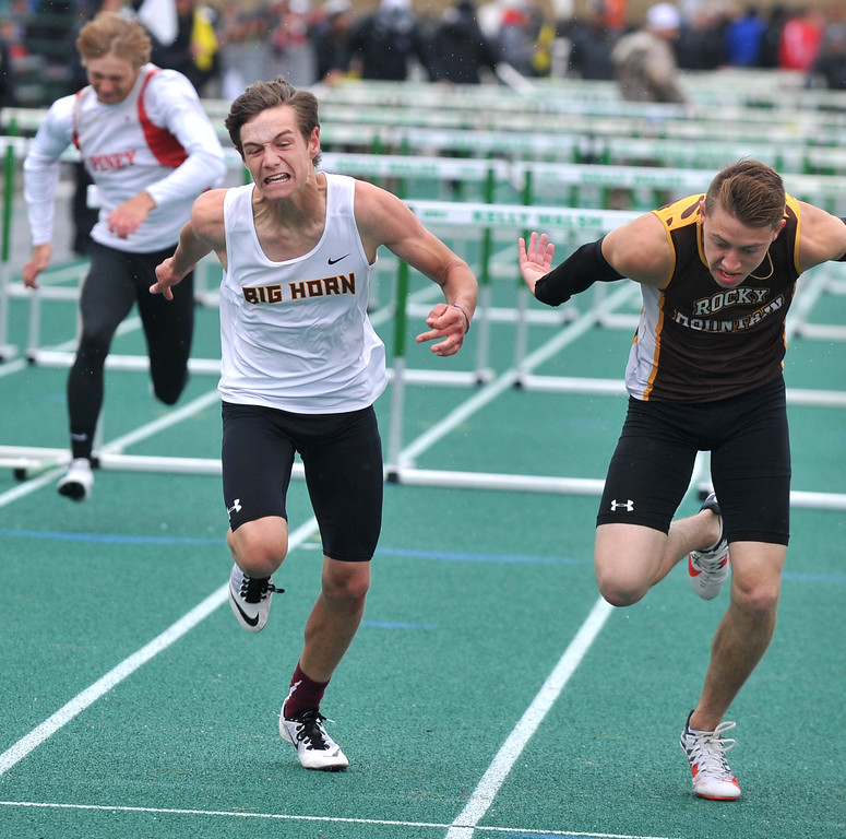 Bud Denega   The Sheridan Press<br /> Big Horn's Liam Greenelsh competes in the 110-meter hurdles during the state track and field meet at Kelly Walsh High School Saturday, May, 19, 2018.