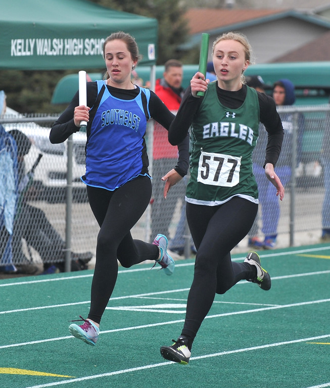 Bud Denega | The Sheridan Press<br /> Tongue River's Kalie Bocek competes in the 1,600-meter relay during the state track and field meet at Kelly Walsh High School Saturday, May, 19, 2018.