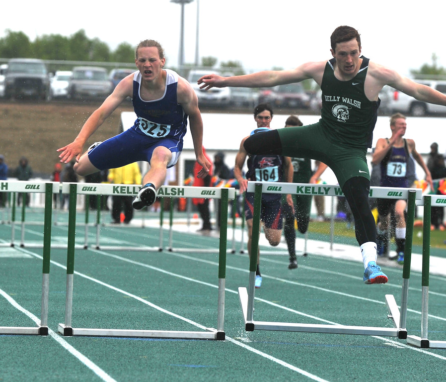 Bud Denega | The Sheridan Press<br /> Sheridan's Alec Riegert competes in the 110-meter hurdles during the state track and field meet at Kelly Walsh High School Saturday, May, 19, 2018.