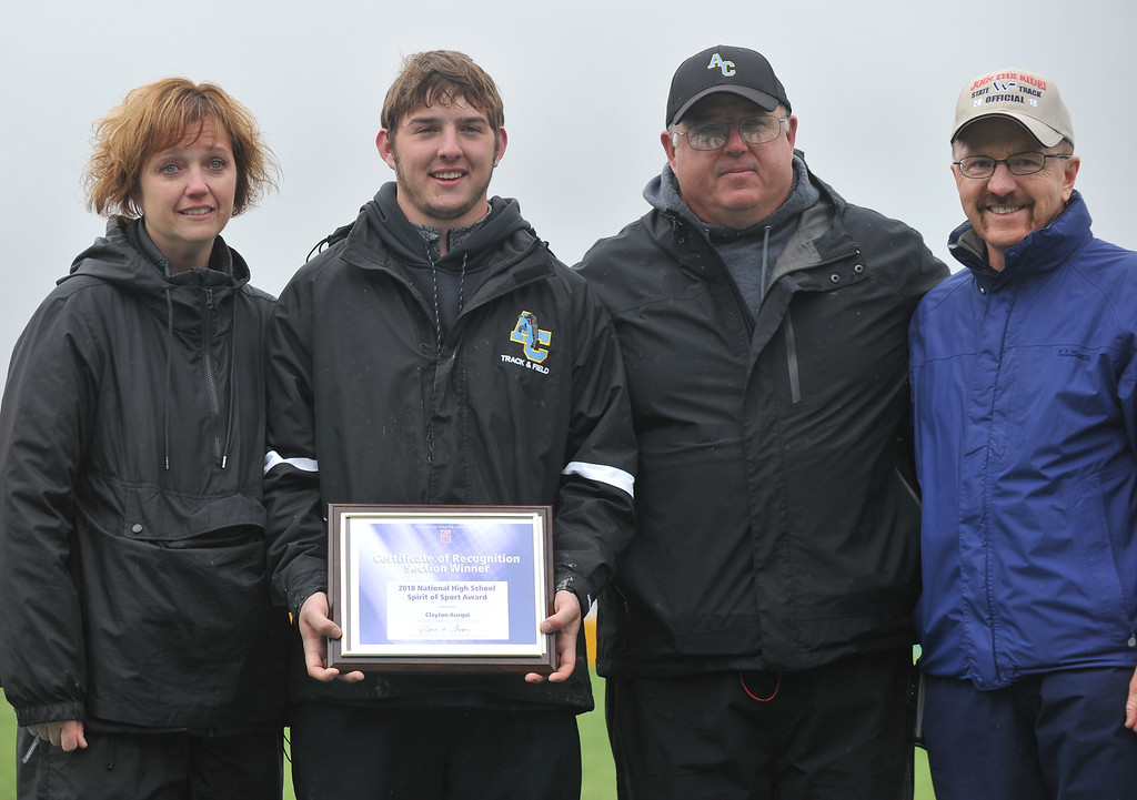 Bud Denega   The Sheridan Press<br /> Arvada-Clearmont's Clayton Auzqui was awarded the Spirit of Sport Award during the state track and field meet at Kelly Walsh High School Saturday, May, 19, 2018.