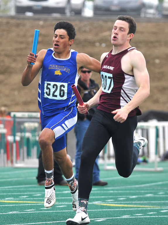 Bud Denega | The Sheridan Press<br /> Sheridan's Matt Roma competes in the 1,600-meter relay during the state track and field meet at Kelly Walsh High School Saturday, May, 19, 2018.