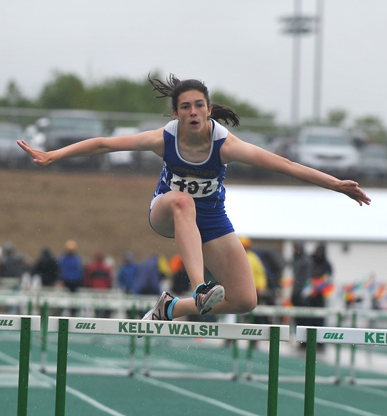 Bud Denega | The Sheridan Press<br /> Sheridan's Piper O'Dell competes in the 300-meter hurdles during the state track and field meet at Kelly Walsh High School Saturday, May, 19, 2018.