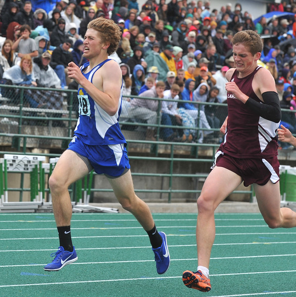 Bud Denega | The Sheridan Press<br /> Sheridan's Brian Gonda competes in the 1,600-meter run during the state track and field meet at Kelly Walsh High School Saturday, May, 19, 2018.