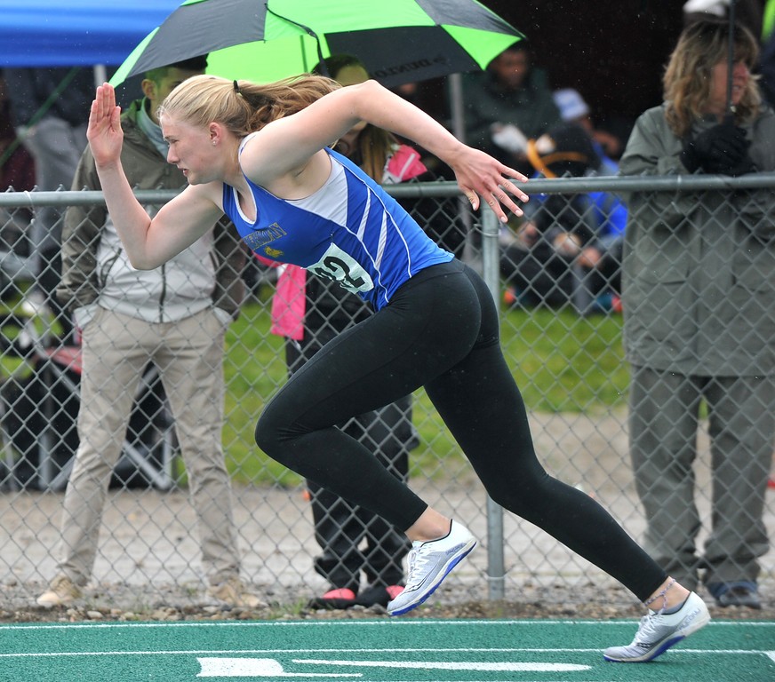 Bud Denega   The Sheridan Press<br /> Sheridan's Piper Carroll competes in the 400-meter run during the state track and field meet at Kelly Walsh High School Saturday, May, 19, 2018.