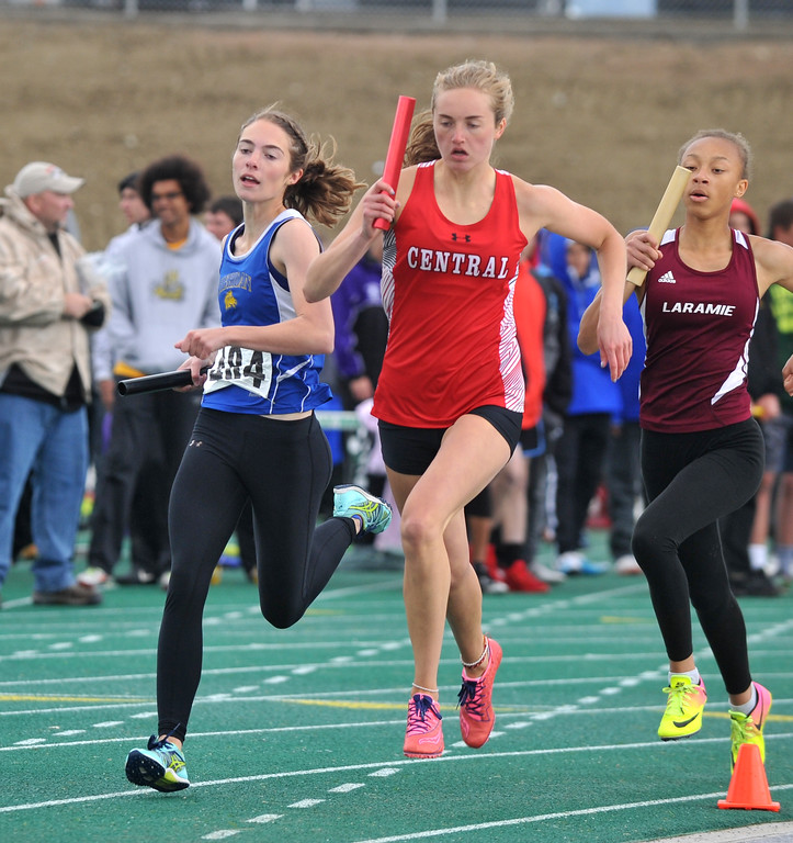 Bud Denega | The Sheridan Press<br /> McKinley Christopherson competes in the 1,600-meter relay during the state track and field meet at Kelly Walsh High School Saturday, May, 19, 2018.