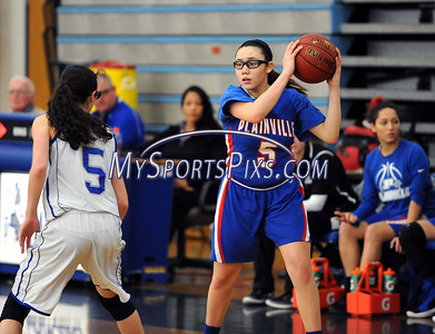 1/20/2018 Mike Orazzi | Staff Plainville's Jaida Vasquez (5) during Saturday's girls basketball game with Bristol Eastern in Bristol.