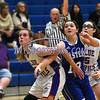 12/14/2017 Mike Orazzi | Staff<br /> Plainville'sCaitlin Barker (3) and Bristol Eastern's Karly Martin (12) Thursday night in Plainville.